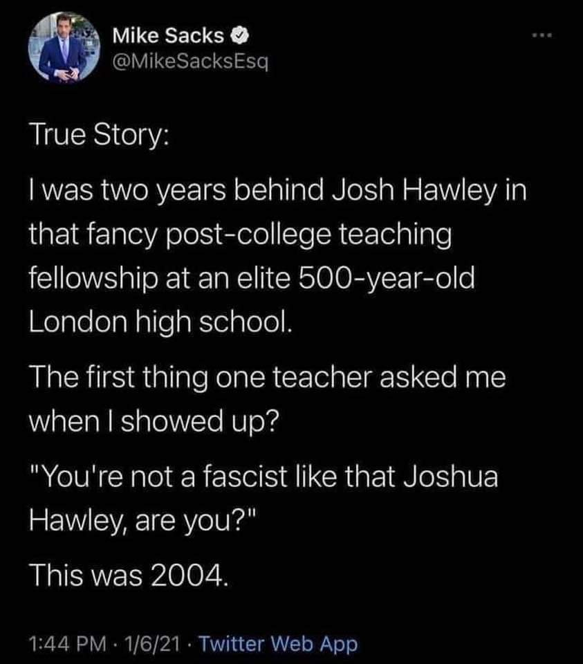 RT @PatBelam: The New York Post should interview some of Josh Hawley's old friends. https://t.co/dMUfI1fh2w