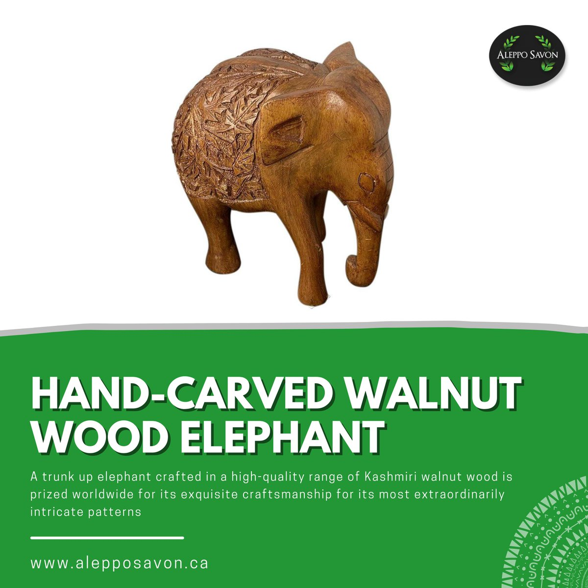 A trunk up elephant crafted in a high-quality range of Kashmiri walnut wood is prized worldwide for its exquisite craftsmanship for its most extraordinarily intricate patterns.  . . 🔗 Shop now:  . .  #naturalsoap #freshface #handmadesoap #love #asmr #soap