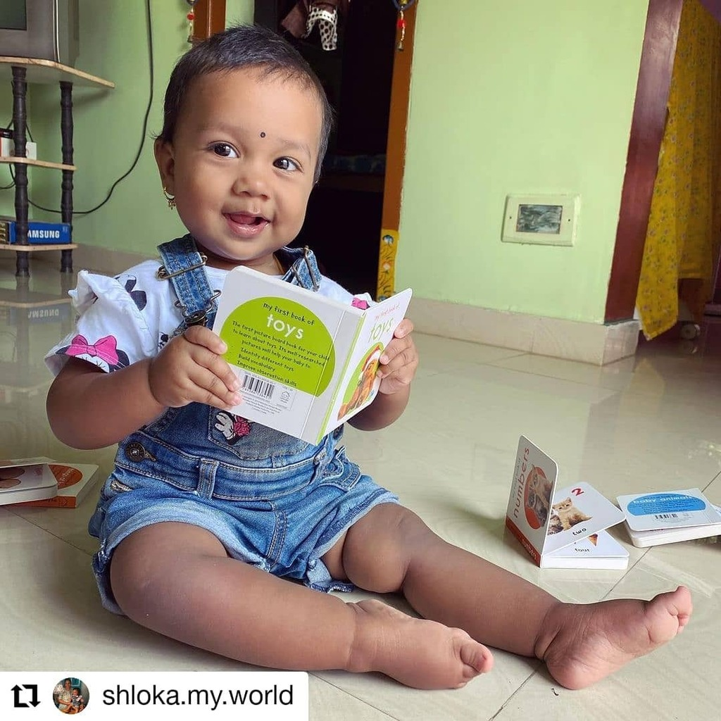 #Repost @shloka.my.world • • • • • • Our best seller Have you bought it yet ?  For the first time, I introduced books 📚 to Shloka & this was her reaction. She started enjoying the pictures from the Day 1.. Thanks to @wonderhousebooks for the amazing books and @amazondoti…