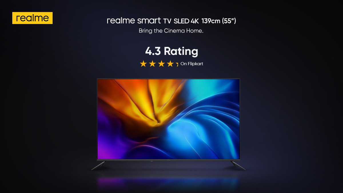 """Super Bright Colours, Super Bright Ratings! With an amazing 4.3 Rating, users are loving the 139cm (55"""") #realmeSmartSLEDTV. It's time to #BringTheCinemaHome!  Available on  and @Flipkart. Buy now:"""