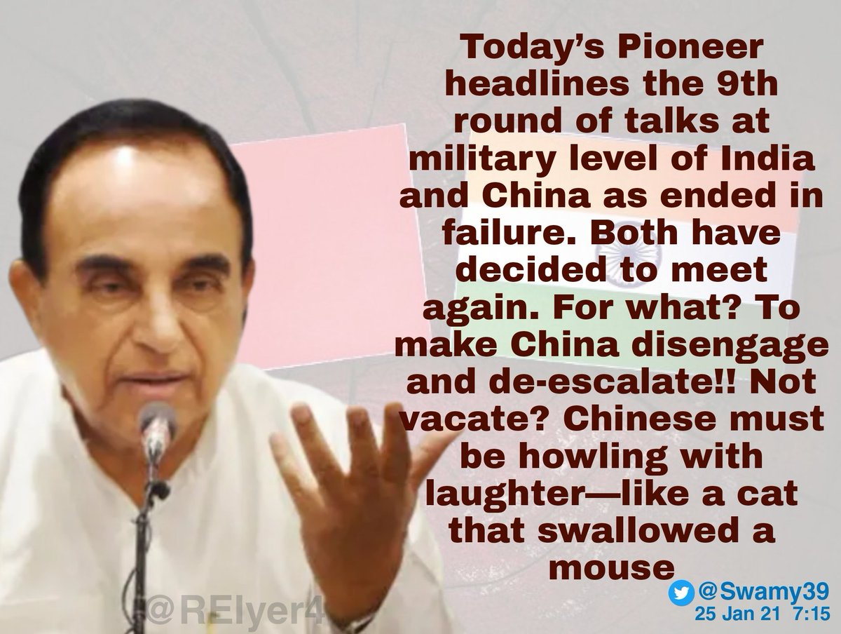 Dr.Subramanian @Swamy39 Ji on headlines of the 9th round of talks at military level between India & China ending in failure & both deciding to meet again!  @jagdishshetty @vhsindia