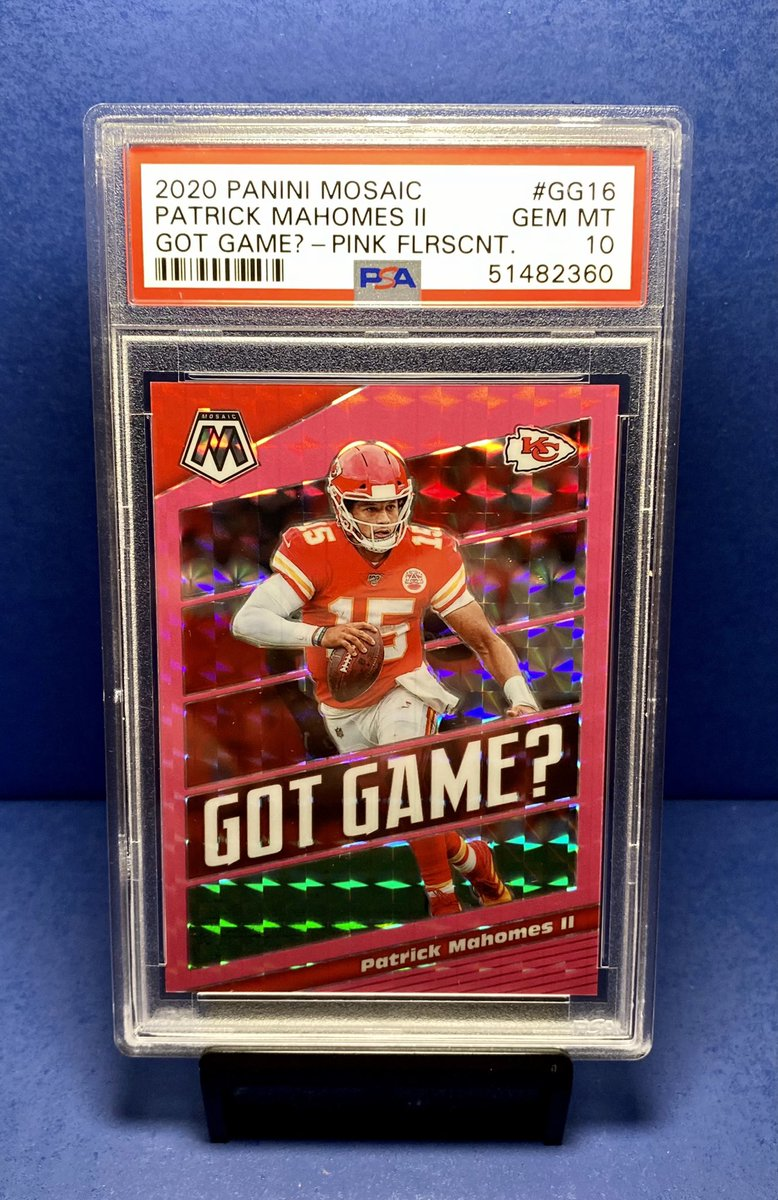 Well this Patrick Mahomes Pink Fluorescent 02/10 is definitely not $1 but it is still a POP 1.  #whodoyoucollect #thehobby #footballcards #AFCChampionship @HobbyConnector @sports_sell