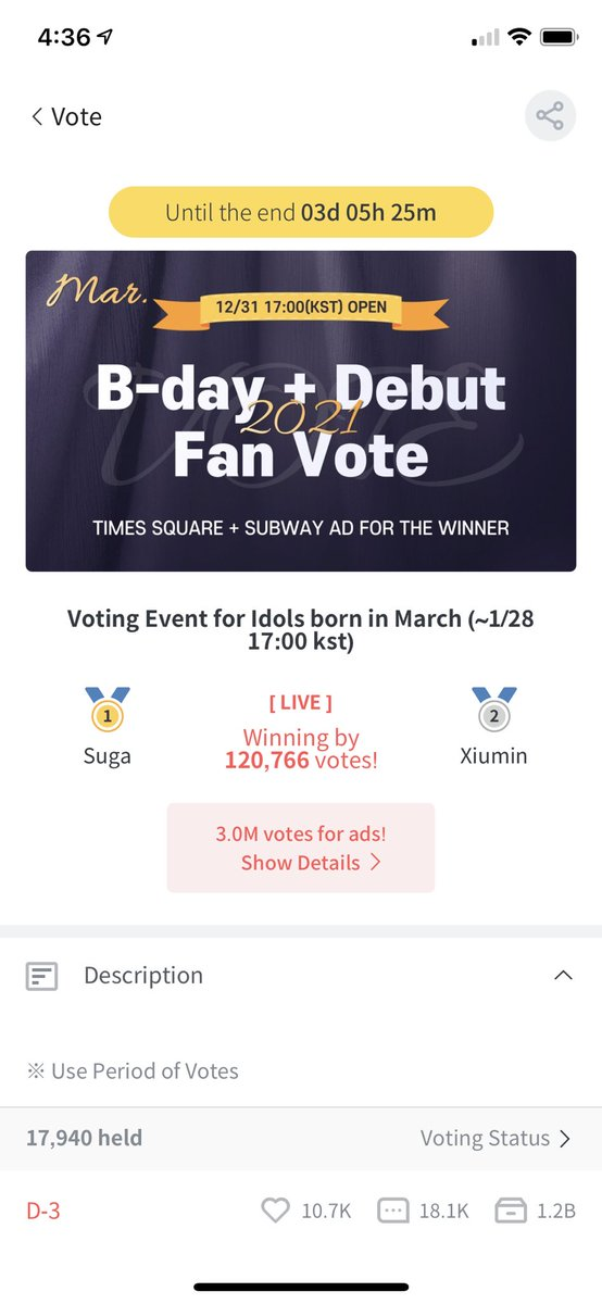 Fanplus App - Bday Ad  Please vote for Yunho in this poll! We are already guaranteed a subway cm board ad since we have over 3 million votes!! But there are 3 days left so you can still drop more votes, pls be sure to use any votes that are expiring soon! #ateez #에이티즈