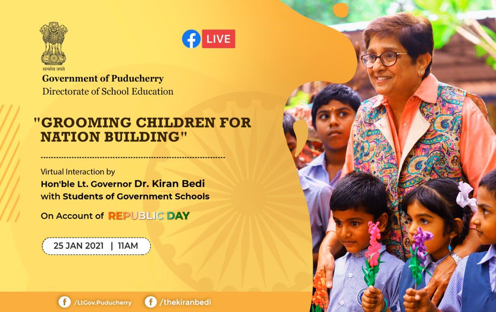 An interactive, virtual #RepublicDay eve on Nation Building, at 11am org by dept of School education..to inspire and connect with children of Puducherry.  Their Qs will be addressed live.  Watch LIVE:  @EduMinOfIndia