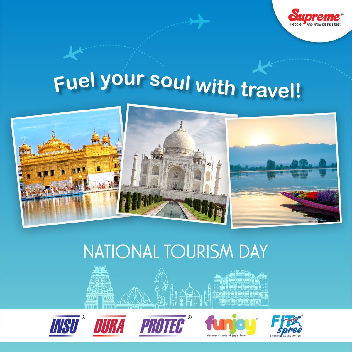 #NationalTourismDay is celebrated every year on 25th January, an incredible way to raise awareness about the importance of tourism & highlight India's diversity which makes it a prime attraction for tourists. #Supremeindustries #ProtectivePackagingSolutions #PROTEC #DURA #INSU