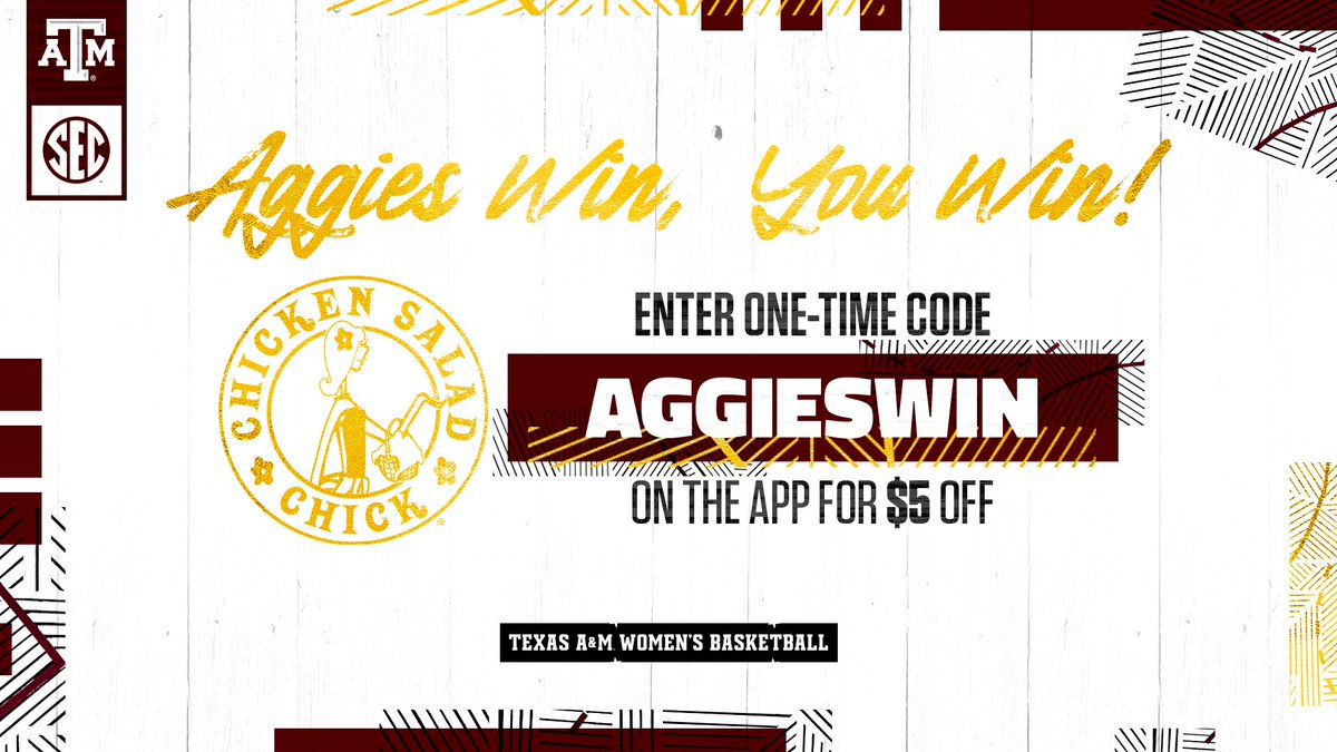 We won! So everyone won! Enter the code and get a little discount 🥳 #GigEm | @chickensaladchi