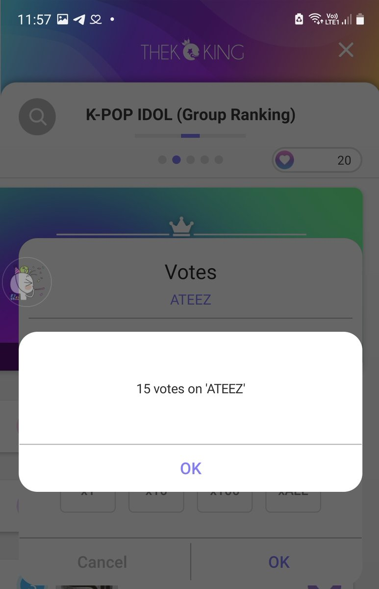 #ATINY dont forget to vote @ATEEZofficial on THEKKING app we need to give our king that big ads. I think this app more easy than sma app. I just make 2 more new acc and every new acc I got 100 star pink and 10 heart vote. So lets work hard ❤😘 #ATEEZ #에이티즈