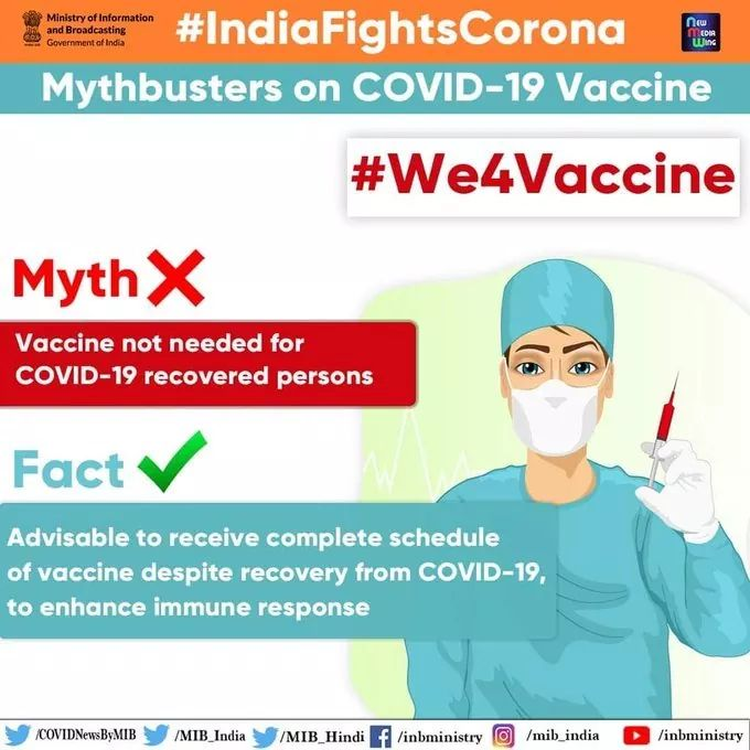 #IndiaFightsCorona:   📍Mythbusters on #COVID19Vaccines   ❗Myth: Vaccine not needed for #COVID19 recovered persons  ✅ Fact: Advisable to receive complete schedule of vaccine despite recovery from COVID-19, to enhance immune response.  #We4Vaccine #Unite2FightCorona