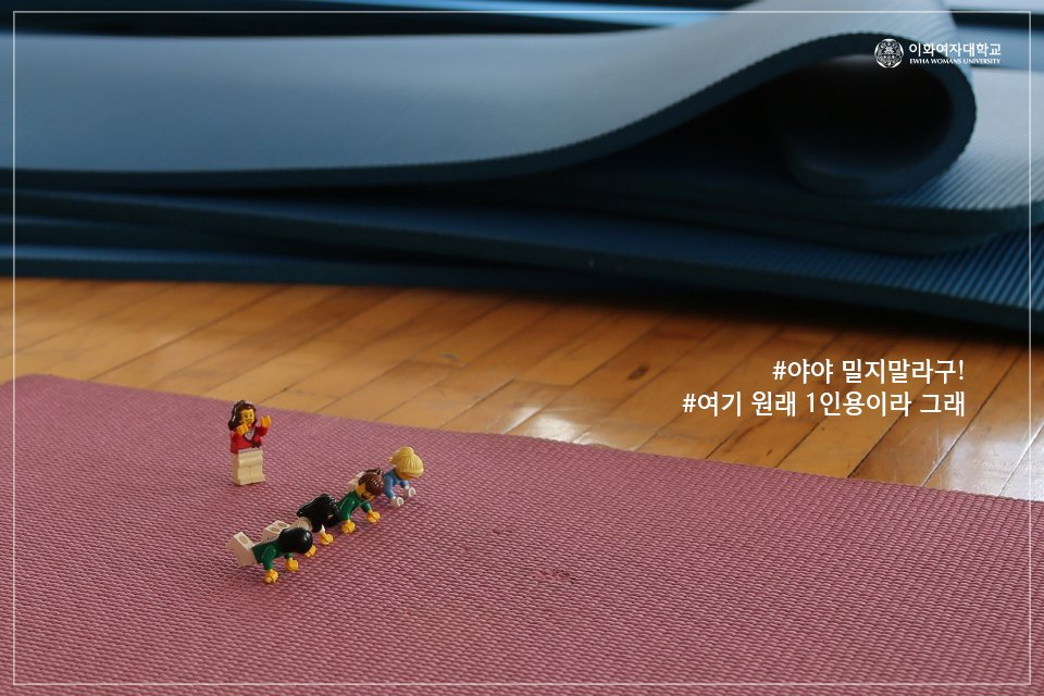 [Lego Buds, What do you do when you go to school?] #8 Gym Expedition Lego buds going out to exercise at the gym! #Ewhagym #svaultinghorse #ballet #lunge #yoga #newyearsresolution #EwhaWomansUniversity #EWHA #UNIV 이미지