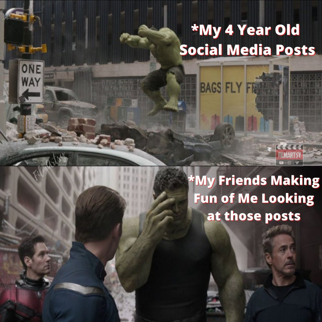 Are you Embarrassed by Your Old Social Media Posts?  Please Follow @FilmArtsy for More Funny Marvel Memes.   #ironman #hulk #blackwidow #captainamerica #robertdowneyjr #filmartsy #filmonger #filmartsymemes #filmongermemes #marvelmemes #mcumemes  #memes #memesdaily #dankmemes