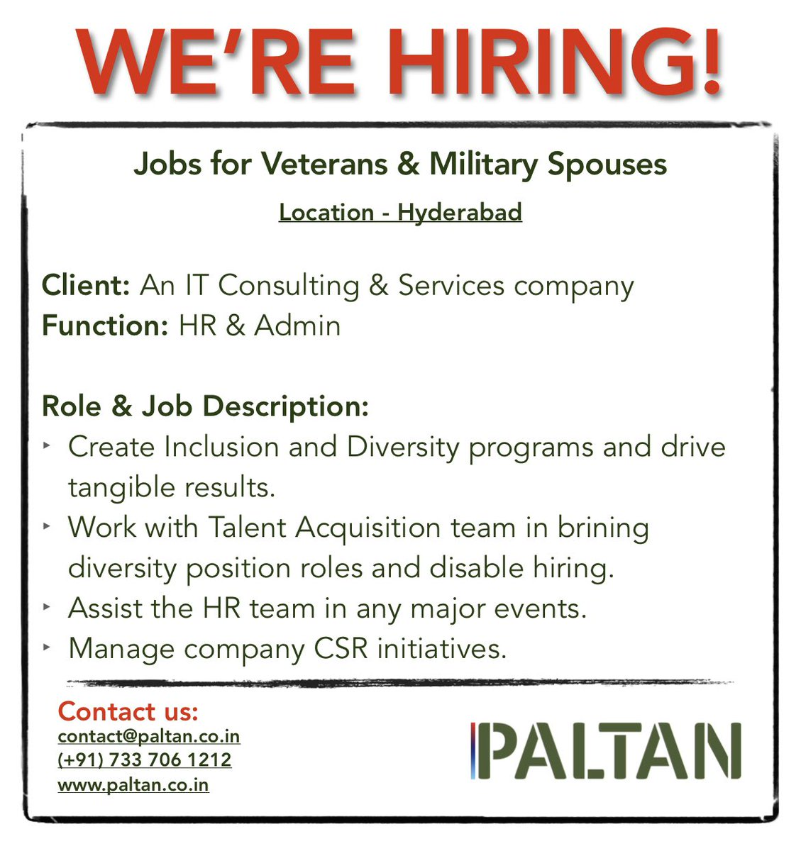 #Hiring for our IT Services client. #Veteran #Military #Jobs