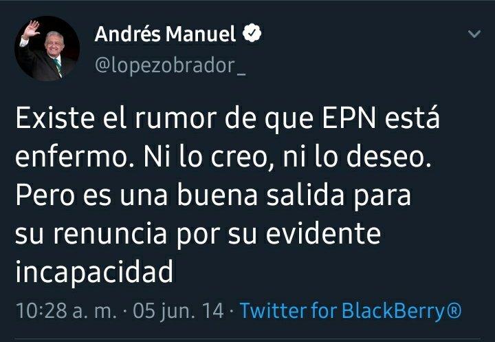 @GobiernoMX @lopezobrador_ Existe el rumor de que AMLO está enfermo. Ni lo creo, ni lo deseo. Pero es una buena salida para su renuncia por su evidente incapacidad. #Nolecreo #Lobo #FuerzaMoral #Detente #NoMentirNoRobarNotraicionar