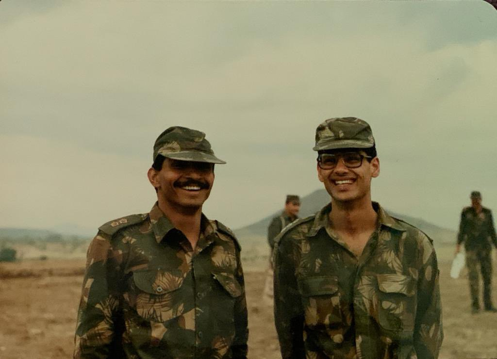 Throwback to a picture taken at Mhow, I was a Capt. at that time.  #colnehru #mhow #indianarmy #RepublicDay #military