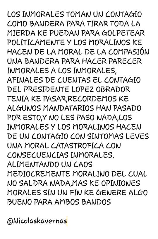 @CNNEE #FuerzaPresidente #FelizDomingo #FuerzaAMLO #Covid_19 #coronavirus #Mexico #AMLO  LA MORAL KE GENERA UN CONTAGIO NO GENERA NADA,MAS KE OPINIONES MORALMENTE MEDIOCRES  👇 https://t.co/xmO2GU74J7