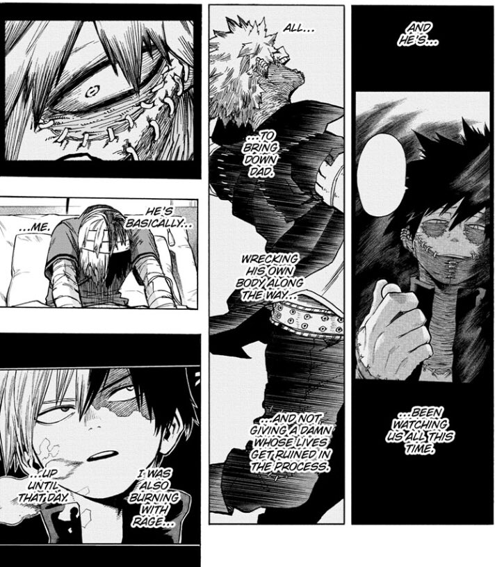 """#bnha298spoilers   touya is def what shoto could've been if he wasnt saved/liberated by deku. Heroes & villains arent that different afterall  what if shoto says """"it's your power"""" to touya, but also referring to how he is not endy nor is he endy's """"creation"""" haha jk unless"""