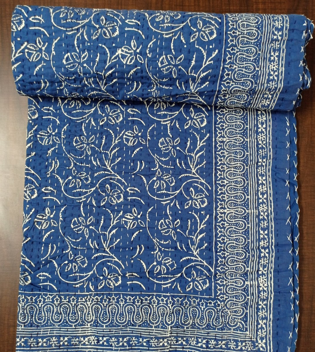 Excited to share the latest addition to my #etsy shop: New Vegetable Dyed Kantha Coverlet Customized Bed Cover Blue Throw King Queen Twin Size Bedding Soft Duvet Cover Beautiful Blanket RAJ#018  #blue #birthday #thanksgiving #white #floral #kid #