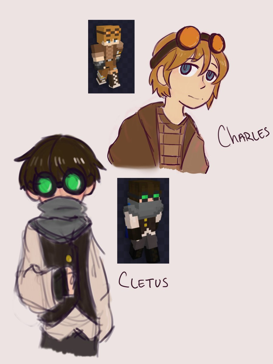 CLETUS MY BELOVEd. also charles :)!! really quick doodles anywayyyss #TALESFROMTHESMP #TalesFromTheSMPArt
