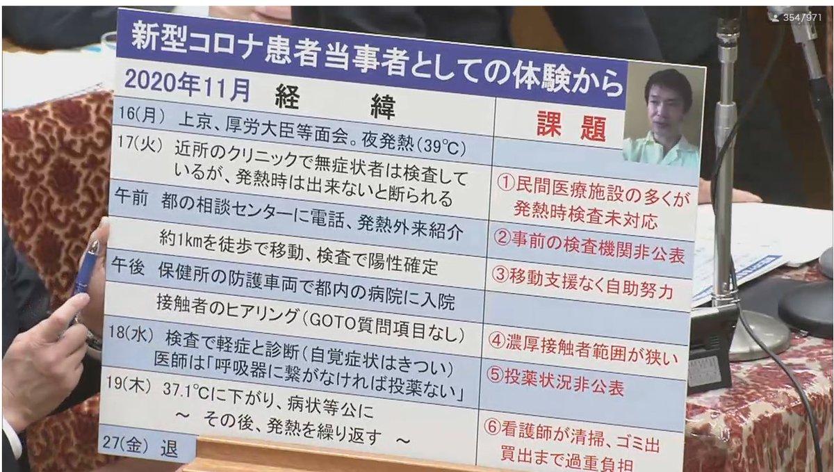 Replying to @hirakawah: 小川淳也議員(立憲)が、自らの感染体験をふまえて、現状のコロナ検査・入院体制の課題を指摘。