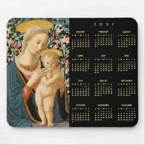Madonna and Child Jesus Virgin Mary 2021 Calendar Mouse Pad  #HappyNewYear #NewYear #Calendar2021
