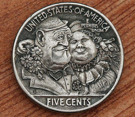 Q: What do you call always having a date for #NewYearsEve?  A: Social Security. #SundayFunday #HoboNickel #CoinCarvings by #AlekseySaburov @SaburovArt