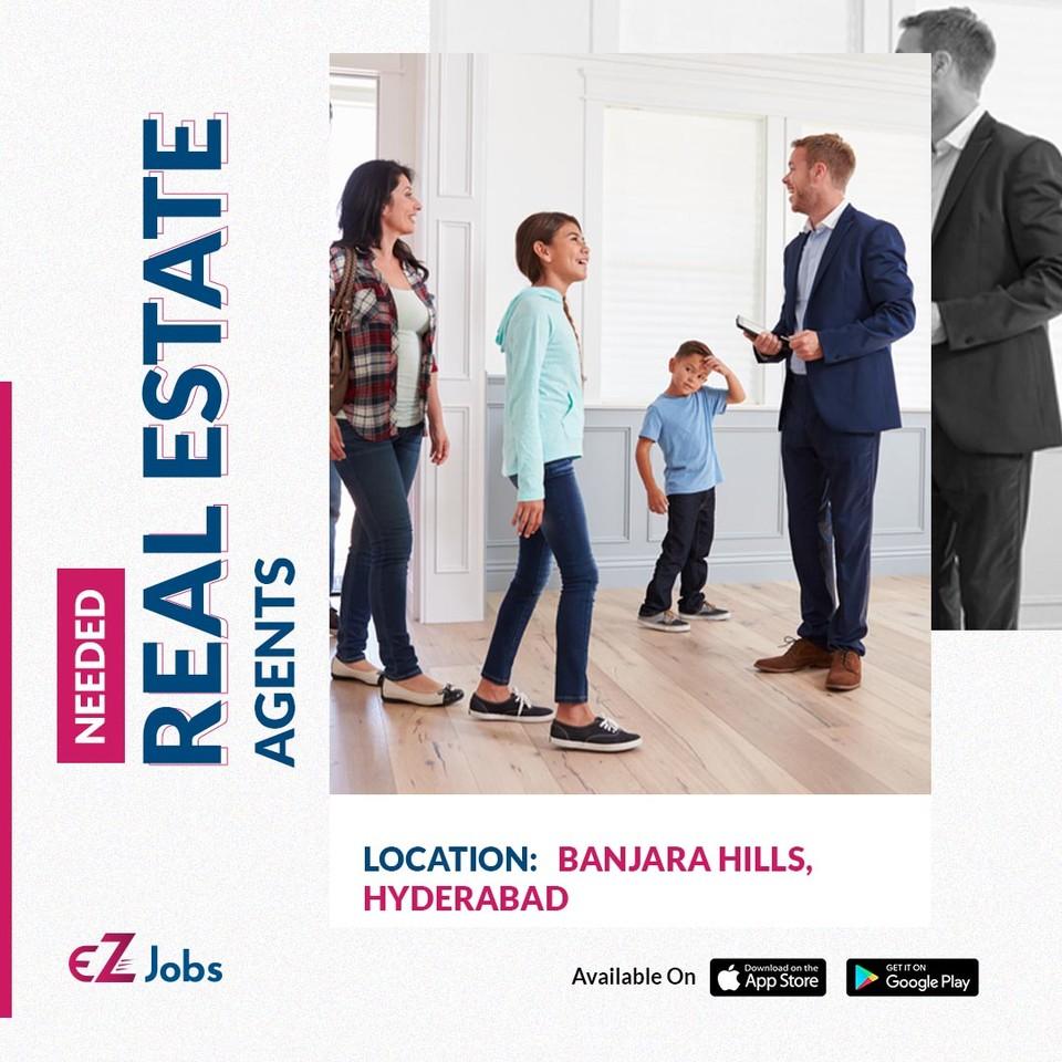 JOB ALERT: Real Estate Agents Location: Banjara Hills, Hyderabad     Find this job on the EZJobs app: .  #RealEstateAgents #Hyderabad #ezjobs #Jobalert