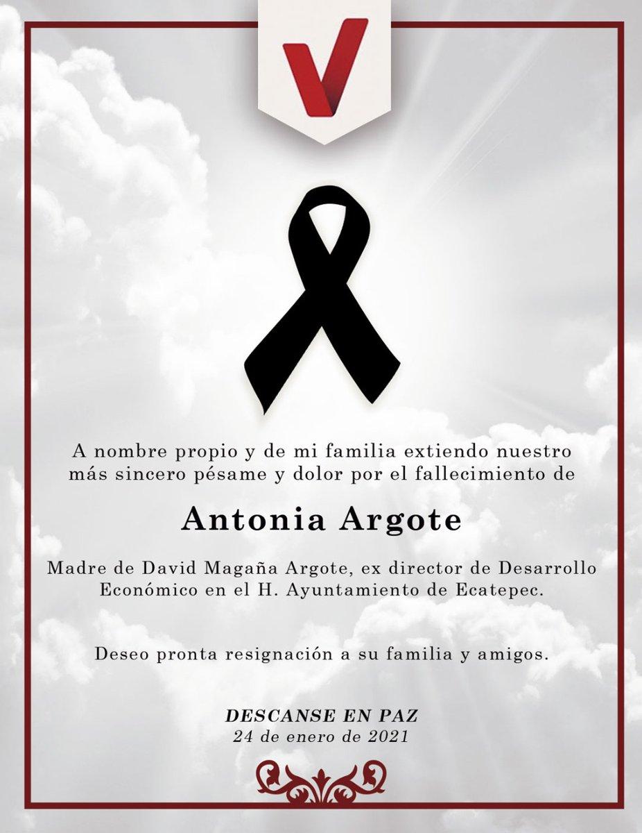 #EternaPaz | Lamento el fallecimiento de la señora Argote y me solidarizo con el difícil momento que atraviesan sus deudos. #QEPD