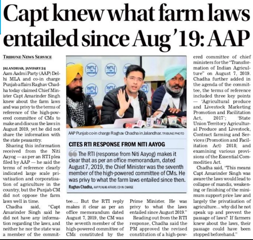 CM @capt_amarinder was aware of 3 farm laws a year before they were brought in the form of ordinances.  Q1- Why did he deliberately conceal content of Bills?  Q2 - Why didn't he place his dissent before high-powered committee?  Q3- Why didn't he insist on consulting farm unions?