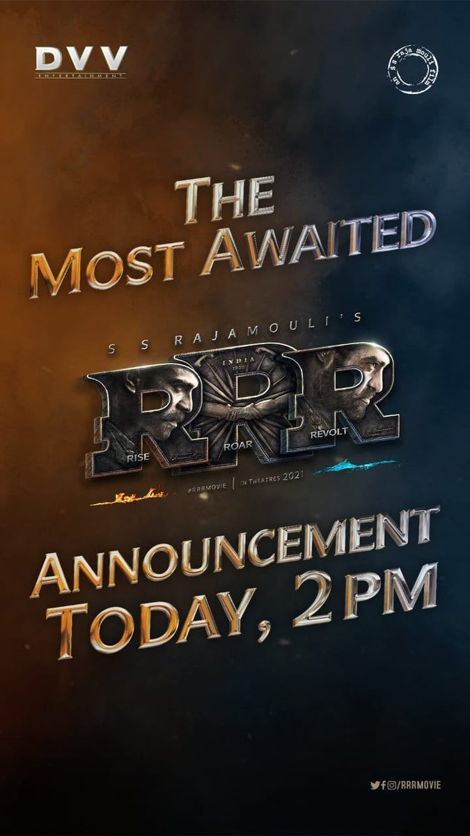 An interesting #RRR announcement today at 2 PM  #RRRMovie #RRR #NTR #RamCharan #JrNTR @ssrajamouli @tarak9999 @AlwaysRamCharan @ajaydevgn @aliaa08
