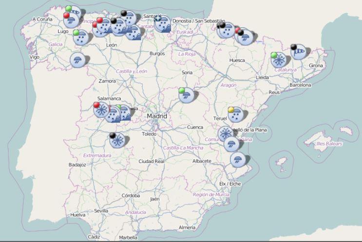 ❄️Por #NIEVE y por 🧊#HIELO hay 23 #carreteras afectadas en toda #Espana   ⚠️ En la Red Principal;  🟢#Precaución en #Álava en #Zuia en la AP68  ⚠️Y en la Red Secundaria; ⚫️8 cortadas 🔴10 con cadenas  ℹ️ + info: @InformacionDGT #DGT #TRÁFICO #TEMPORAL