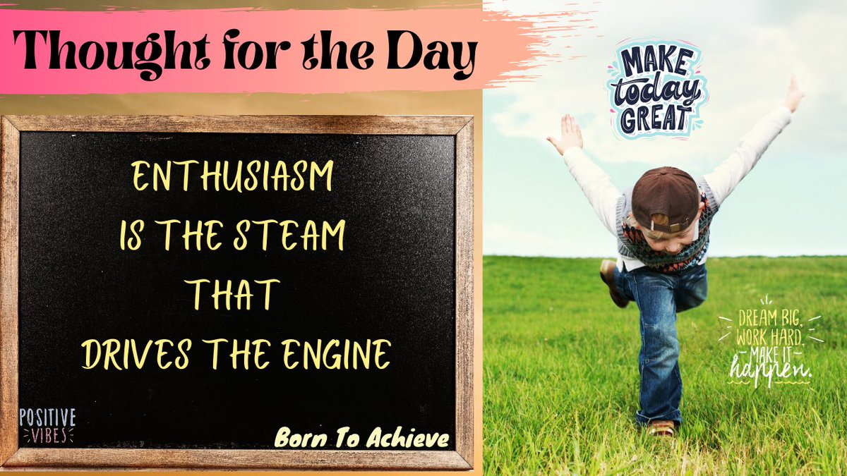 Enthusiasm is all you need to kick start your week !!  Explained - https://t.co/2I5rW3v0DC  #MondayMotivation #Enthusiasm #StayPositive #HappyLife #HappyMind #BornToAchieve #Motivational #Inspirational #Quotes #Thoughtfortheday  Join us @ https://t.co/hGzGSD5Pt2 https://t.co/ts6NKAhJVr