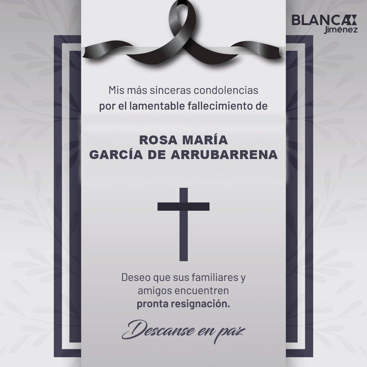 Mi más sentido pésame @Lupitaarruba y familiares por la sensible pérdida de la Sra. Rosa María. Con respeto y cariño, les envío un fuerte abrazo. #QEPD 🙏🏼