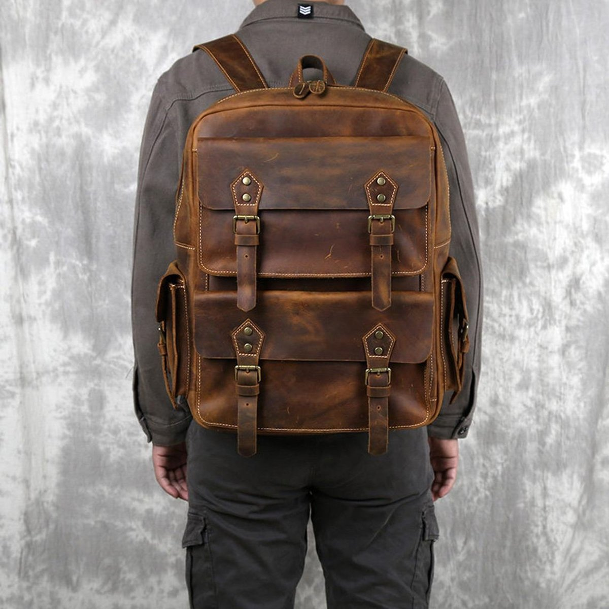 """Excited to share the latest addition to my #etsy shop: Personalized Leather Backpack For Men Leather Rucksack Travel Backpack 15"""" Laptop Backpack Gift for Him Leather Anniversary Gift  #brown #graduation #thanksgiving #bohohippie #leatherlaptopba"""
