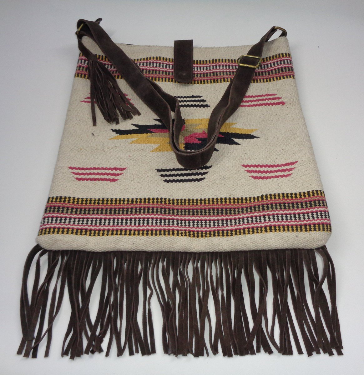 Excited to share the latest addition to my #etsy shop: Handmade Leather Cross-Body Bag Eco Friendly Sling Bag Cotton Rugs Shoulder Bag Stylish Bag with Leather Fringes  #white #bachelorparty #thanksgiving #shoulder #artdeco #crossbodybag #leather
