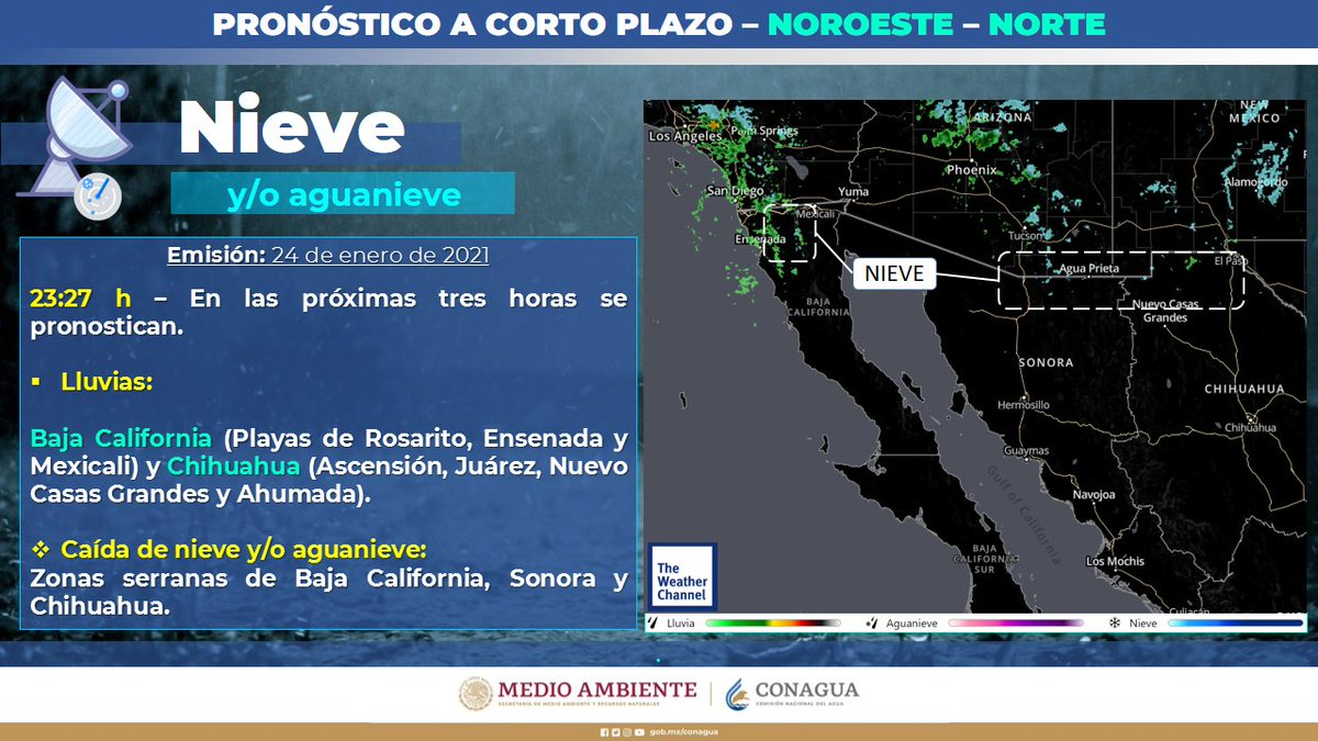 ⚠️Durante las próximas 3 horas se pronostican, #Lluvias y caída de #Nieve o #Aguanieve zonas serranas❄️de #BajaCalifornia, #Sonora y #Chihuahua.