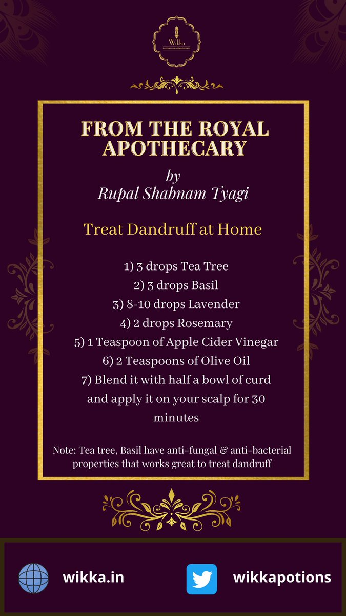 #FromtheRoyalApothecary  How to #treatdandruff with the use of age-old therapeutic #essentialoils   #BeautySecrets