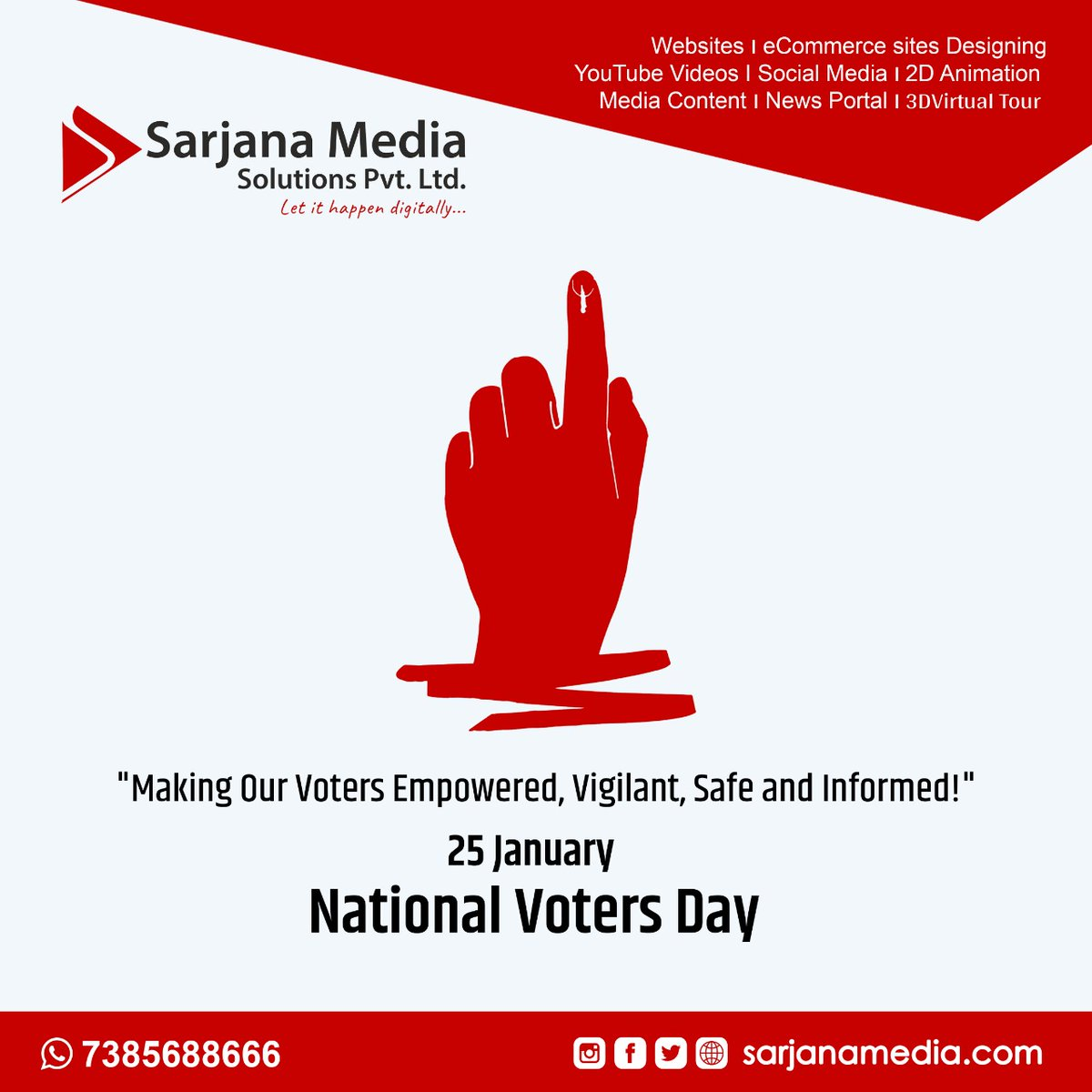 """National Voters Day - 25 January Let's acknowledge the incredible contribution of the EC to bolster our democratic fabric and ensure smooth conduct of elections. """"Making Our Voters Empowered, Vigilant, Safe and Informed!"""" #NationalVotersDay #vote #vote2020 #democracy"""