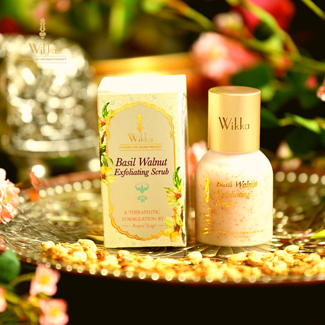 """Give your skin extravagance with the herbal #aroma  of #basil  and delicacy of the true botanical nut with Wikka's new range of """"Basil Walnut Exfoliating Scrub"""".    #Wikka #exfoliate #Scrubs"""