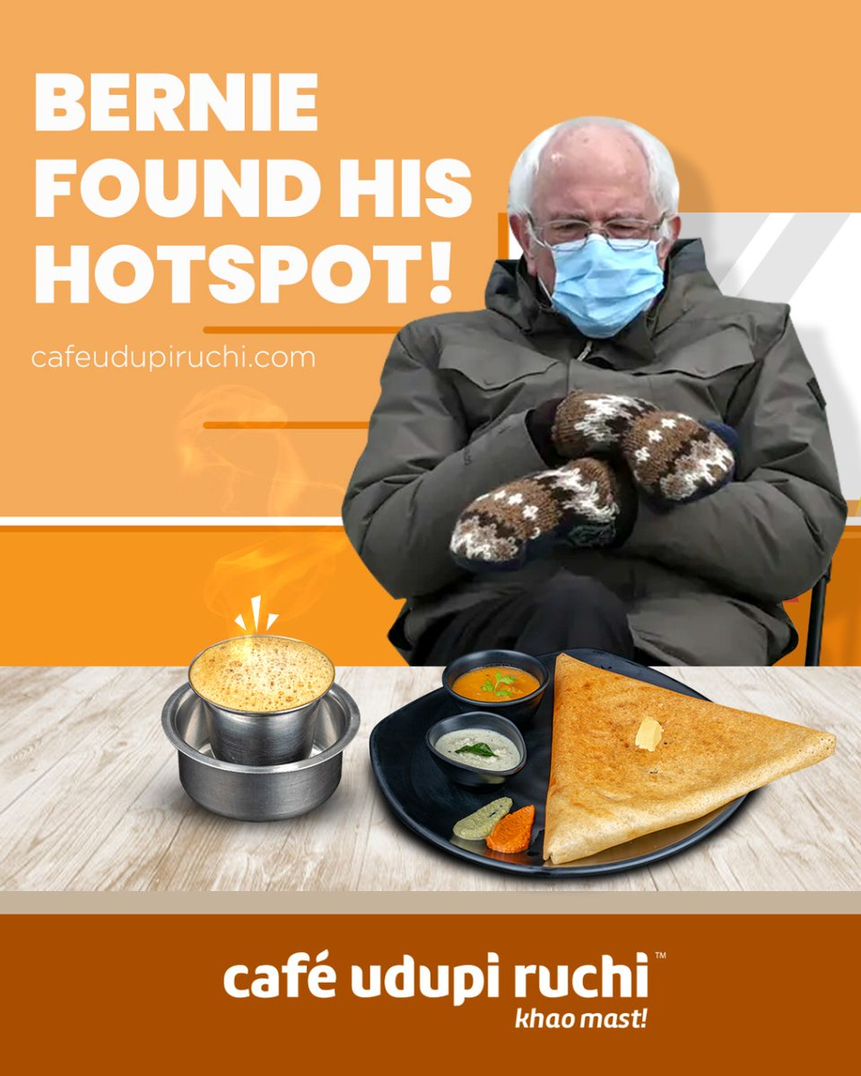A dosa and cup of coffee is what he needs on a Monday morning! 😝  #cafeudupiruchi #khaomast #berniesanders #advertising #memes #bidenharris2020