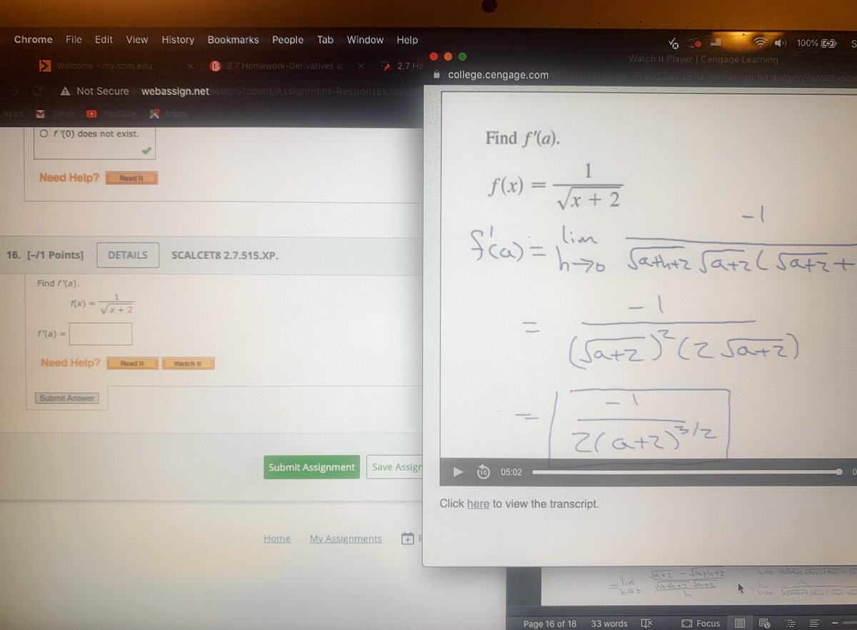 😒I don't think many people know this. 1 of my online courses. We don't have any lectures; we are paying to actually #teach ourselves from #YouTube about #Engineering Calc I #Math. I have a strong background. But a lot of students already said this is their 3rd try lol! #stem