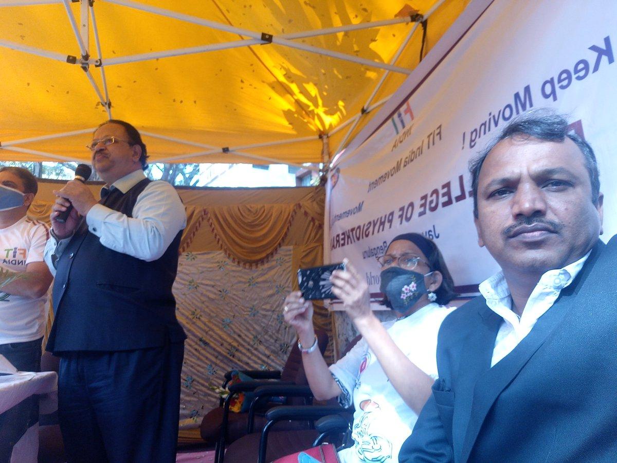 R V College of Physiotherapy Bangalore NSS unit organised Fit India Cyclothone, RGUHS VC Dr. Sachhidananada addressing the volunteers #NssIndia #MinistryofYouthAffairsandSports #pibyas #fitindiamovement @KirenRijiju @YASMinistry @_NSSIndia @RijijuOffice @PMOIndia