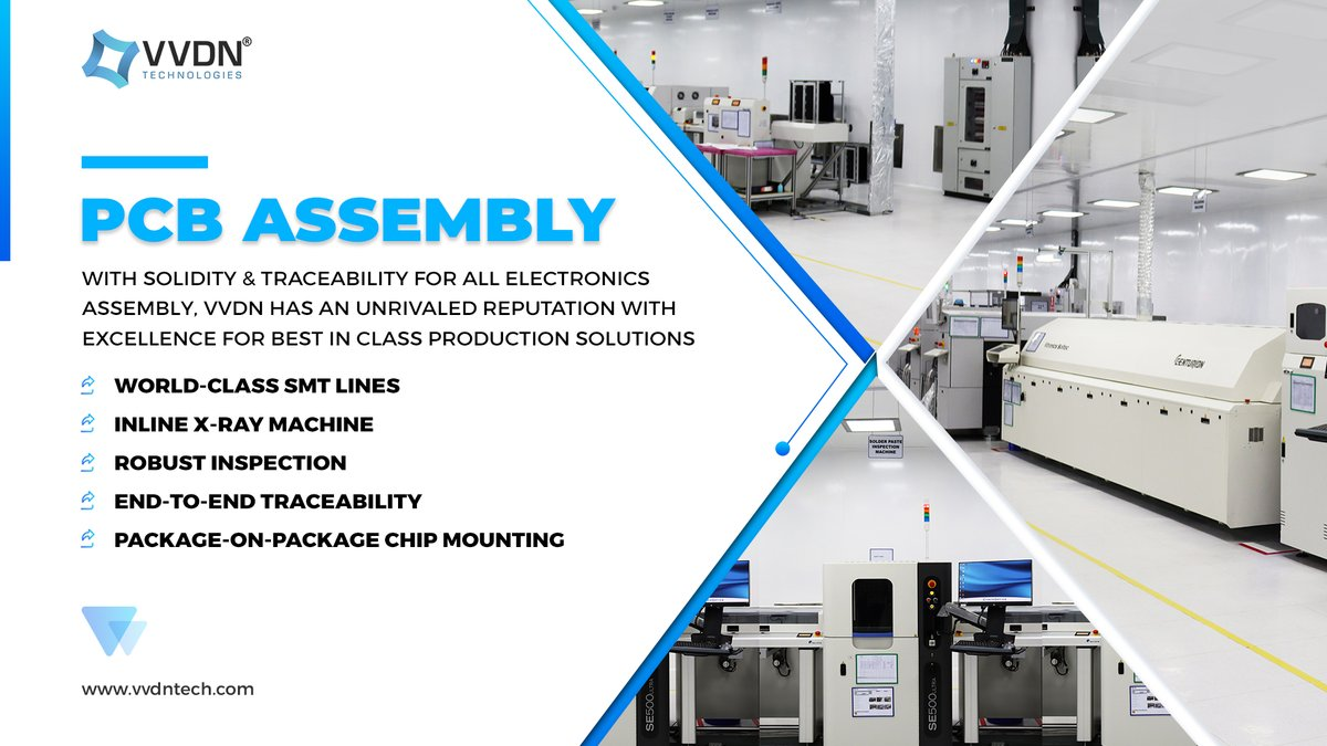 With high-quality #PCB Designing, Prototype, and #Manufacturing, VVDN's scrutinized systems for batch production and component traceability ensures the best quality of finished products. More at   #vvdntech #pcbassembly #makeinindia #ODM #smt #100DaysOfCode