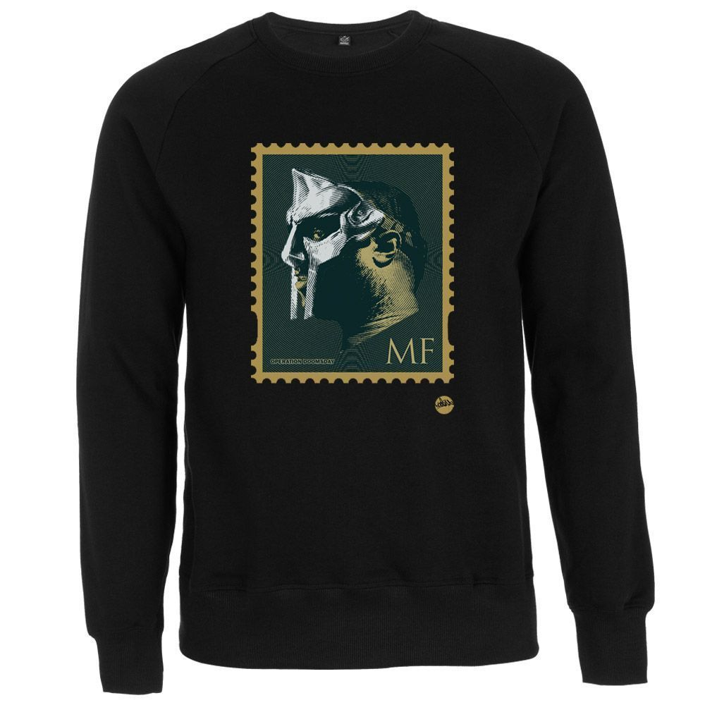 """NOW SHIPPING! #MFDOOM STAMP SWEATER (BLACK) """"MOST IF NY VILLAINS DONT APPEAR IN STAMPS""""  RT"""