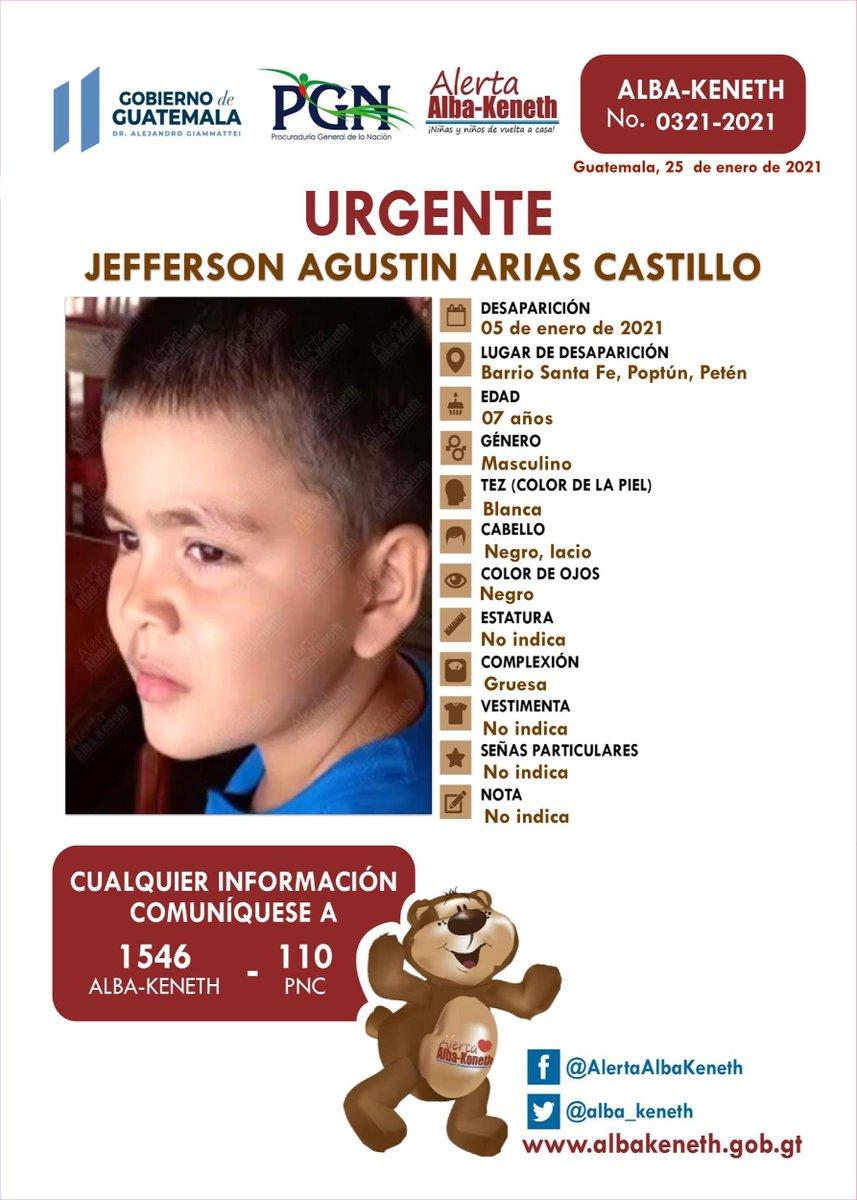 #AlertaAlbaKeneth ⚠ | Jefferson Agustin Arias Castillo , de 07 años de edad. Desapareció el 05 de enero de 2021, Barrio Santa Fe, Poptun Peten.    🔃Comparte y ayúdanos con su localización 📞Si tienes información llama al 1546.