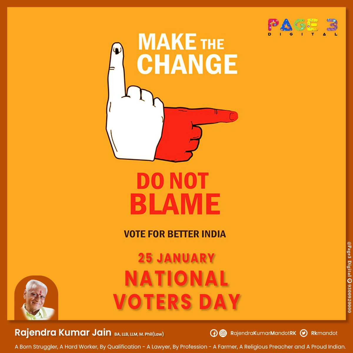 Make the Change Do Not Blame..  VOTE FOR BETTER INDIA   NATIONAL VOTERS DAY   #Nationalvotersday #voting #politics #votingmatters #democracy #votingrights #electionday #ivoted #votevotevote #votingday #votersday2021 #Nationalvotersday2021 #राष्ट्रीयमतदातादिवस #मतदातादिवस #मतदान