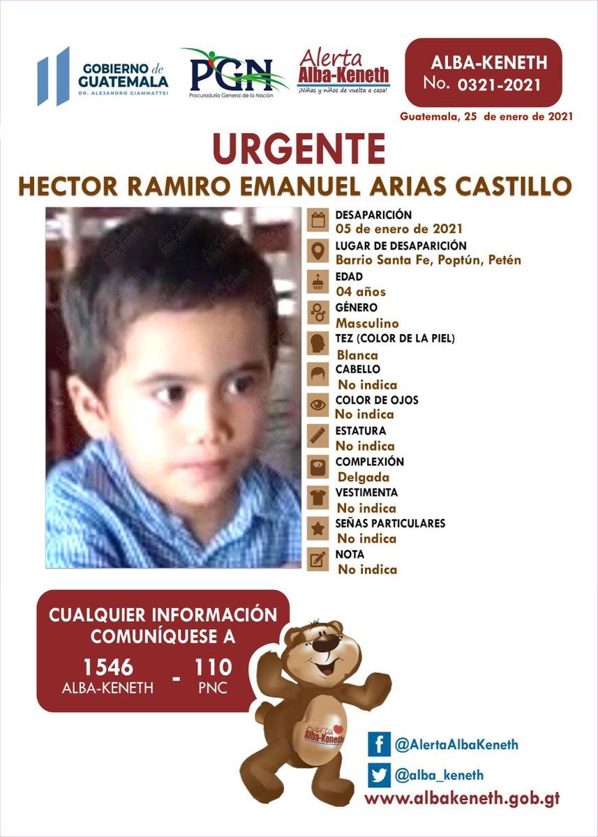 #AlertaAlbaKeneth ⚠ | Hector Ramiro Emanuel Arias Castillo , de 04 años de edad. Desapareció el 05 de enero de 2021, Barrio Santa Fe, Poptun Peten.    🔃Comparte y ayúdanos con su localización 📞Si tienes información llama al 1546.