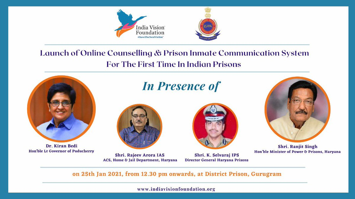 """For the First time in #IndianPrisons, """"An Online Counselling & Prison inmate communication System."""" by @IVFoundation, set up in 1994 with the receipt of #MagsaysayAward   Launching at 12.30 PM today..   Watch LIVE:    #HaryanaPrisons @DemonstrativeLE"""