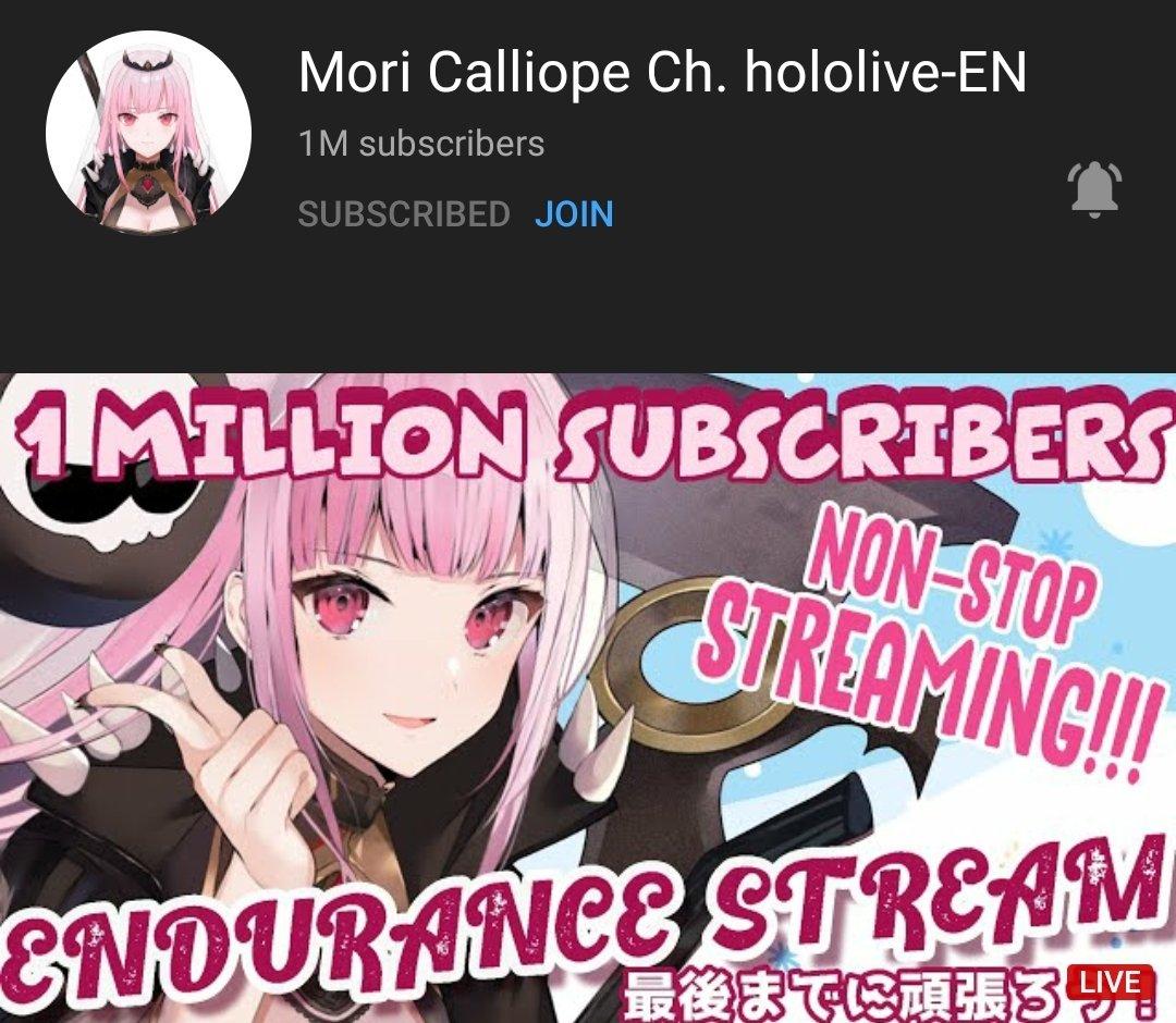 GUH! Congratulations on having 1 Million deadbeats, mori! #morillion
