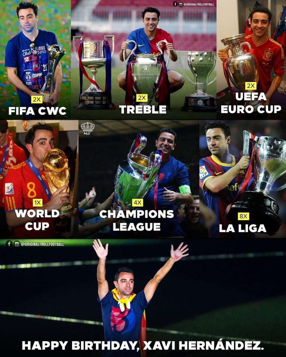 Happy Birthday 🥳 El Maestro Xavi Hernandez🐐, one of the best midfielders of all time 🔝. Miss those #goldendays when you and @andresiniesta8 🐐 unlocked even the toughest defense for our attackers to score. We wish to see you in @fcbarcelona_fra soon. #ForcaBarca 🔵🔴