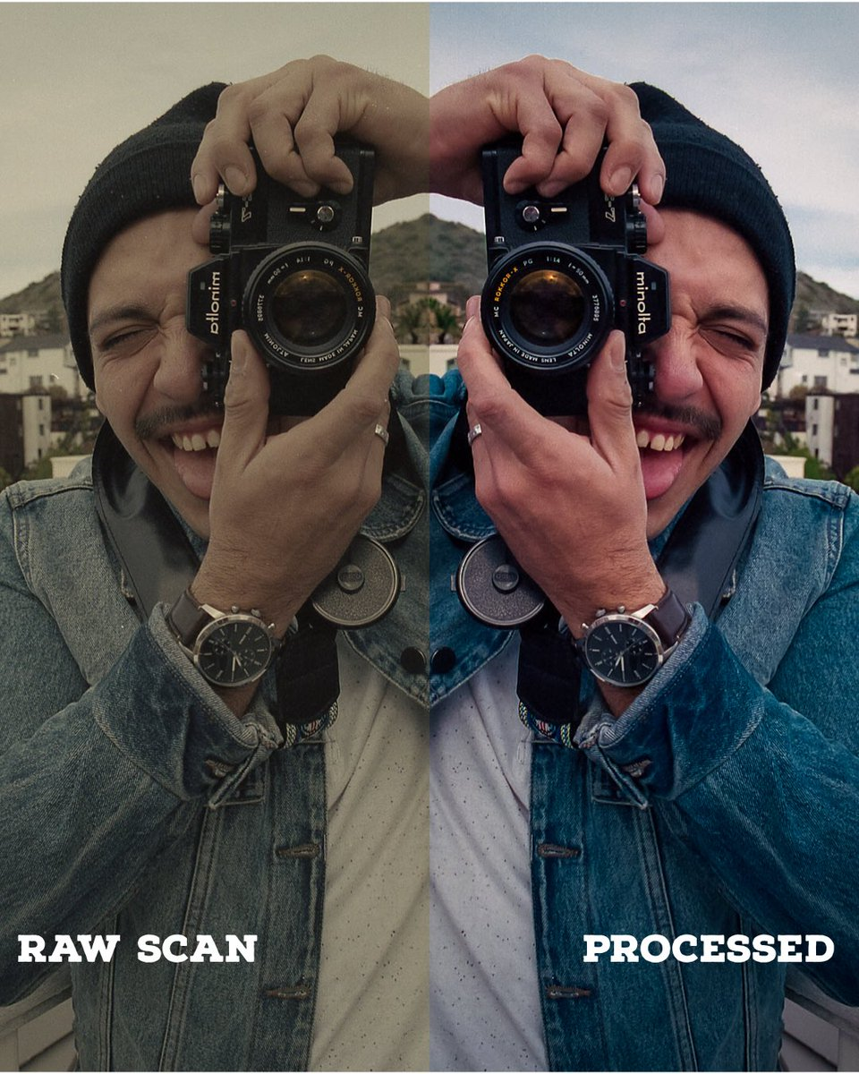I haven't been a fan of posting on Twitter but after a great conversation on #ClubHouseApp I'll be hopping on here more often. I'll even be sharing my work!!! Here's before and after of a #35mmfilm scan!!