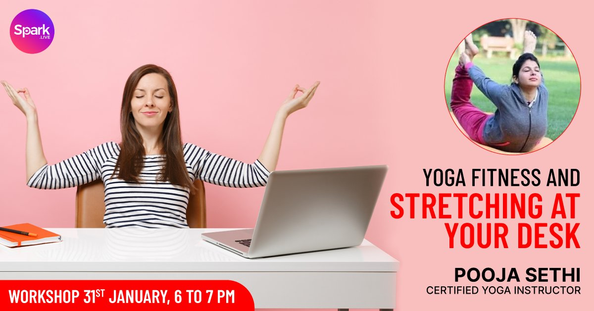 If you have been practicing yoga asana regularly and want to learn techniques that can easily be performed at your desk, join Pooja Sethi's online free Yoga workshop on !! Know more:  #yoga #sparklive #meditation #yogapractice